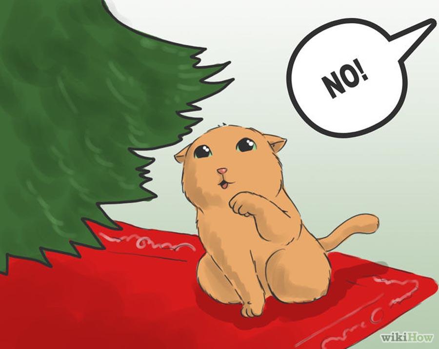 Как обезопасить елку от кота