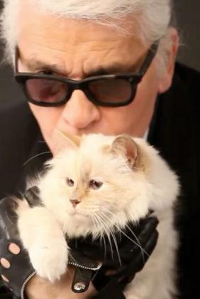 Карл Лагерфельд и кошка Шупетт