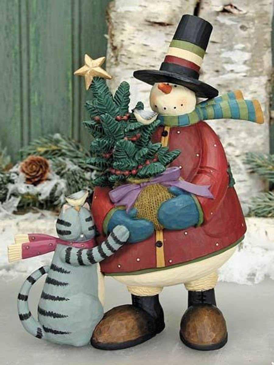 Картинка: кот и снеговик